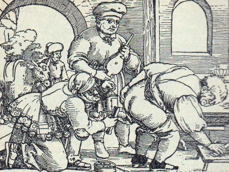 Þýzk trérista frá miðri 16. öld sýnir þarmaskolun.