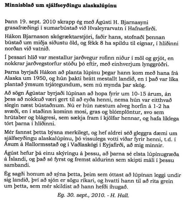 Hér birtist minnisblað Helga Hallgrímssonar.