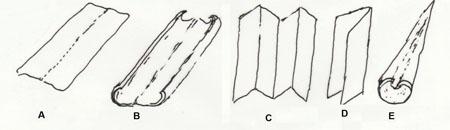 Blaðlögun. A: slétt; B: rennulaga; C: samanlagt; D: samanbrotið; E: innundið. Teikn. ÁHB